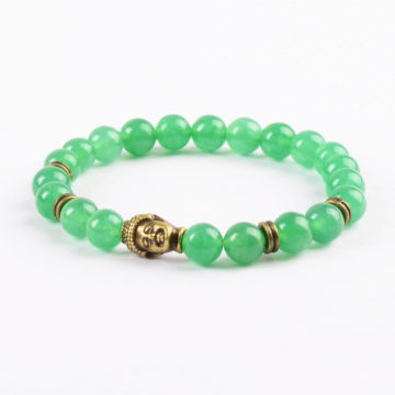 Antique Bronze Buddha Optimistic Growth Bracelet | Green Aventurine Jade 2