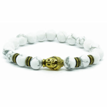 Golden Buddha Knowledge & Patience Bracelet | White Howlite Stones