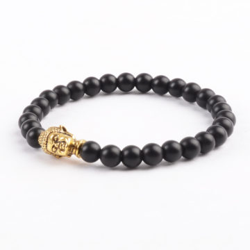Golden Buddha Protection Bracelet | Matte Black Stones 6mm 2