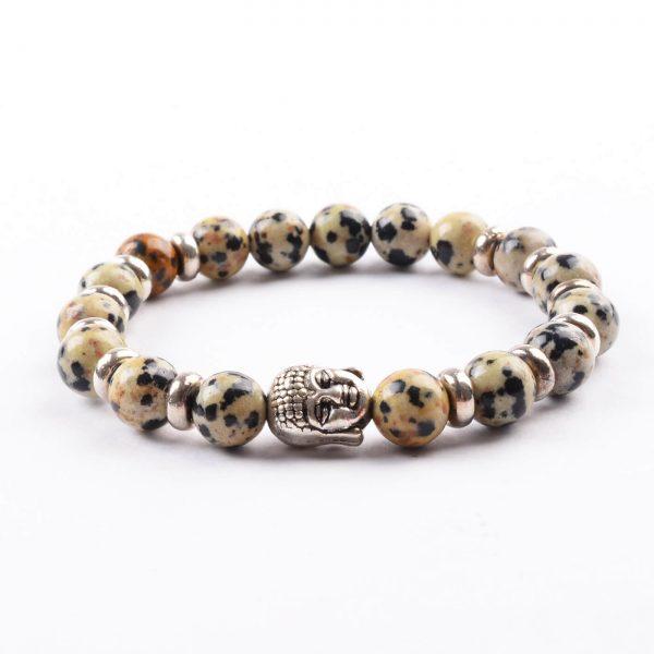 Silver Buddha Healing & Protection Bracelet   Dalmation Jasper Stones
