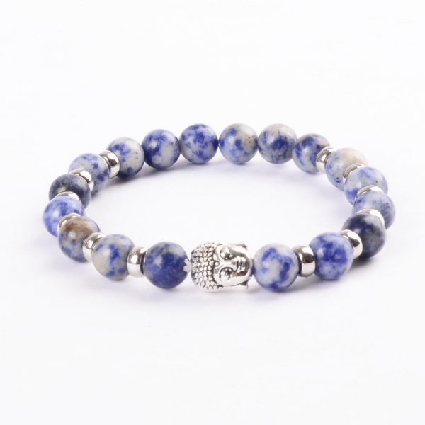 Silver Buddha Creativity Enhancer Bracelet   Nahcolite Blue White Stones
