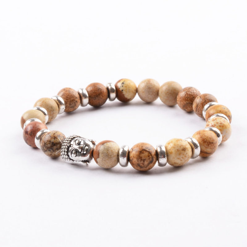 Silver Buddha Will Power & Stability Bracelet | Picture Jasper Stones