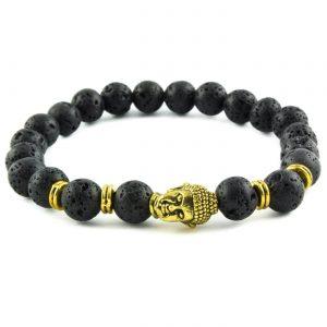 Golden Buddha Calmness Bracelet | Black Lava Stones
