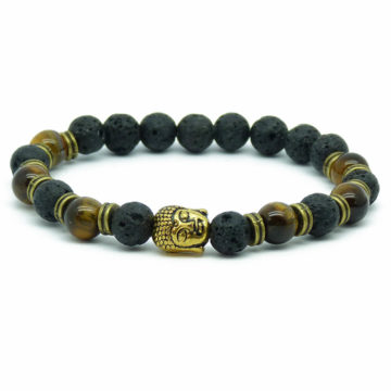 Golden Buddah Integrity & Protection Bracelet | Tiger Eye & Black Stones