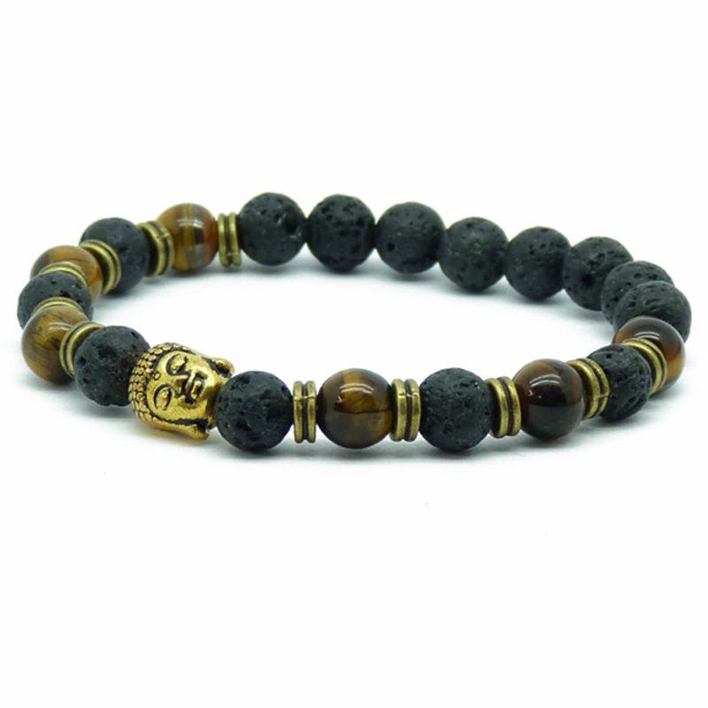 Golden Buddah Integrity & Protection Bracelet | Tiger Eye & Black Stones