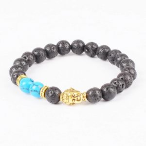 Golden Buddha Good Friendship Bracelet |Black Lava & Blue Veins Stones