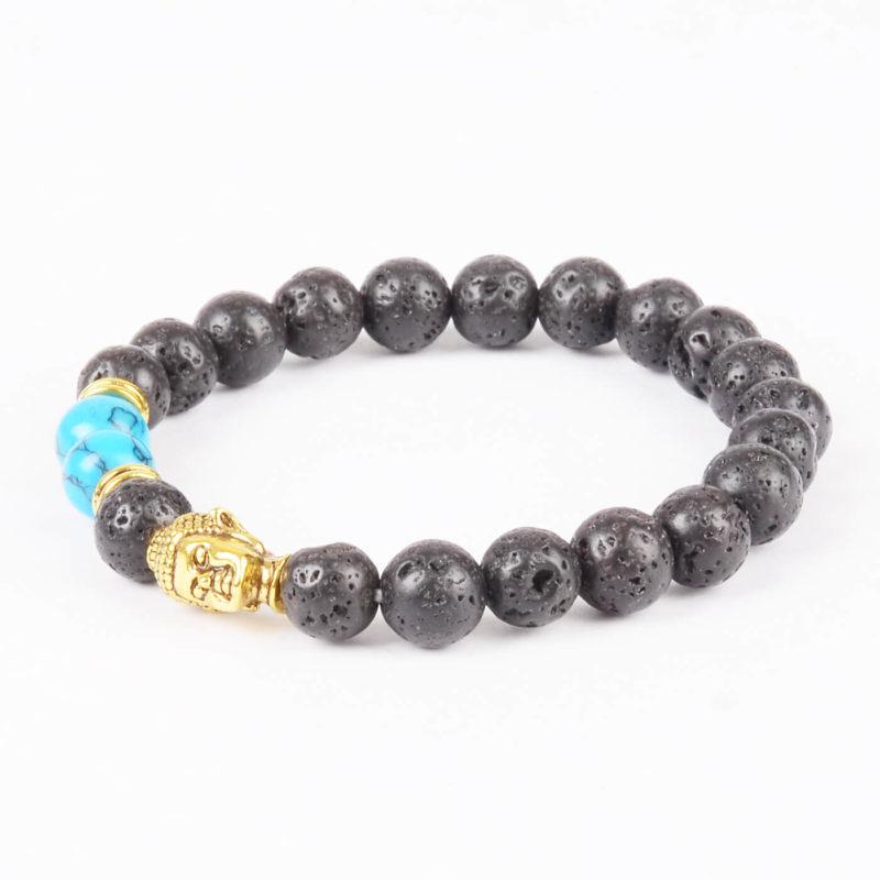 Golden Buddha Good Friendship Bracelet |Black Lava & Blue Veins Stones