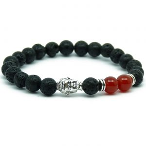 Silver Buddha Strength & Courage Bracelet | Red Agate & Lava Stones