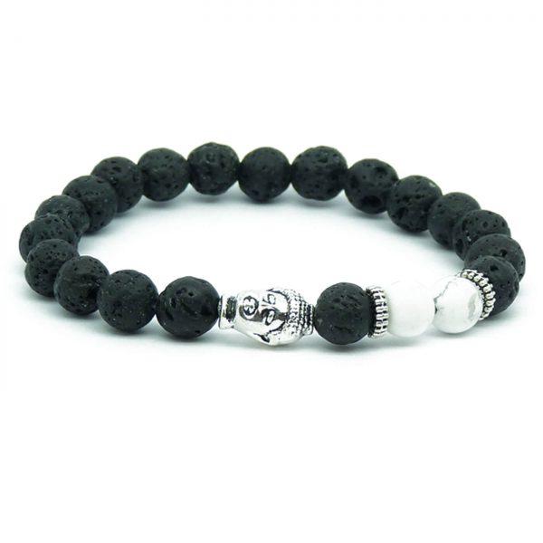 Silver Buddha Calmness & Peace Bracelet | White Howlite & Lava Stones