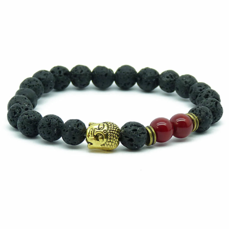 Gold Buddha Strength & Courage Bracelet | Red Agate & Lava Stone Beads