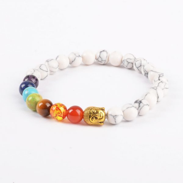 Golden Buddha Creation Bracelet | Full Chakra Stones & White Howlite