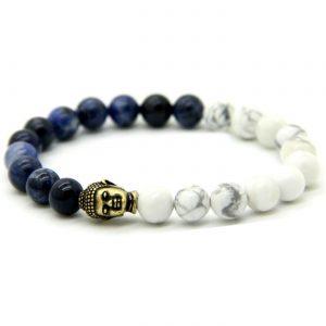 Antique Buddha Spiritual Wisdom Bracelet | Lapis Lazuli & Howlite Stones