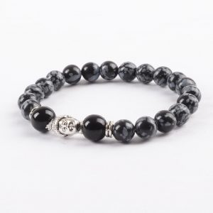 Silver Buddha Life Balancing Bracelet | Black Grey Obsidian Stones 2