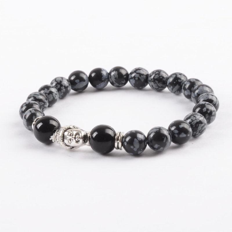 Silver Buddha Life Balancing Bracelet | Black Grey Obsidian Stones