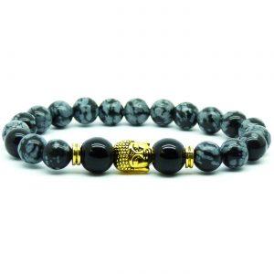 Golden Buddha Life Balancing Bracelet | Black Grey Obsidian Stones