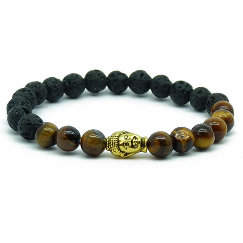 Golden Buddha Strength & Protection Bracelet | Tiger Eye & Lava Stones