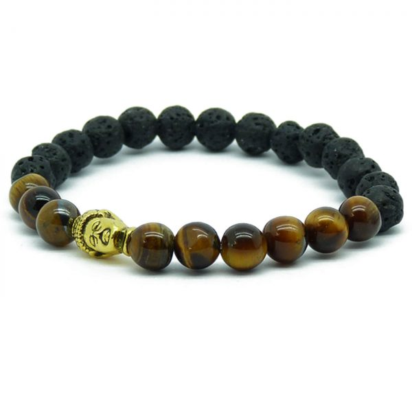 Golden Buddha Strength & Protection Bracelet | Tiger Eye & Lava Stones