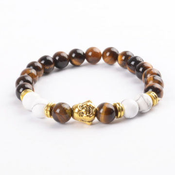 Laughing Buddha Will Power & Calmness Bracelet | Tiger Eye & Howlite Stones