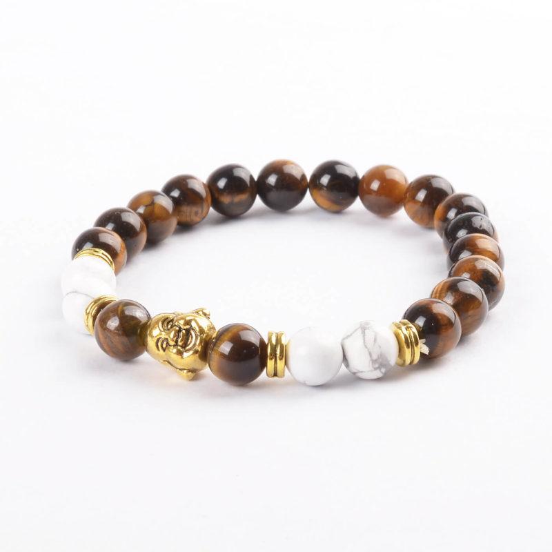 Laughing Buddha Will Power & Calmness Bracelet | Tiger Eye & Howlite Stones