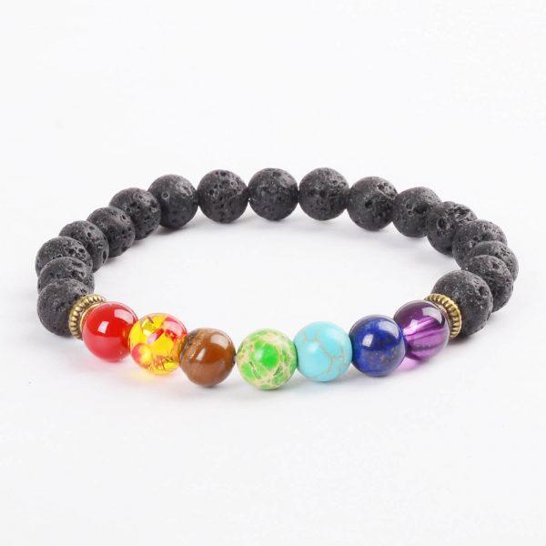 Life Balancing & Courage Bracelet | Full Chakra & Lava Stone Beads