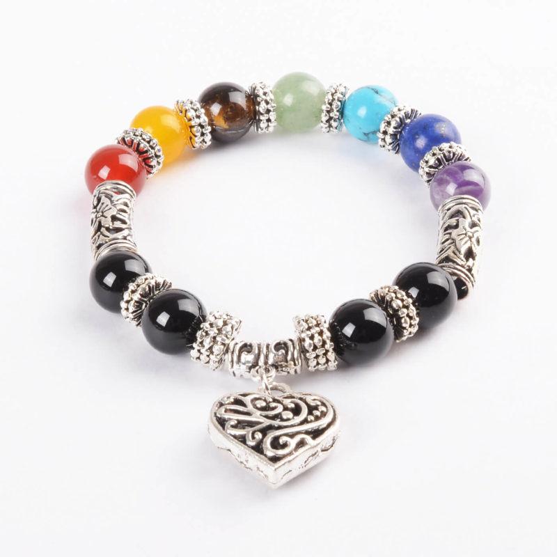 Life Balancing Creation Bracelet | Full Chakra Stones & Heart Charm Silver