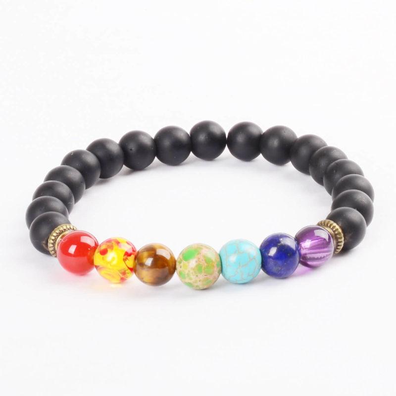Life Balancing & Protection Bracelet | Full Chakra & Black Agate Stones