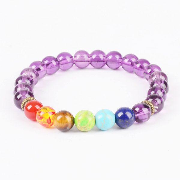 Life Balancing & Positive Energy Bracelet   Full Chakra & Amethyst Stones