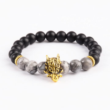 Golden Dragon Protection & Stability Bracelet | Black & Picasso Jasper Stone