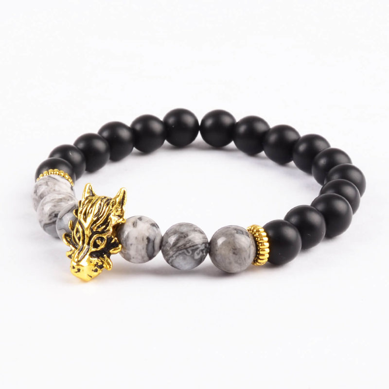 Golden Dragon Protection & Stability Bracelet | Black & Picasso Jasper Stone