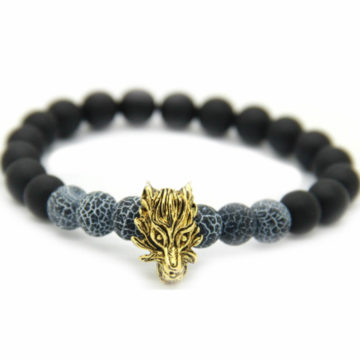 Golden Dragon Leadership Bracelet | Matte Black Agate & Frost Vein Beads