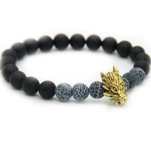 Golden Dragon Leadership Bracelet | Matte Black Agate