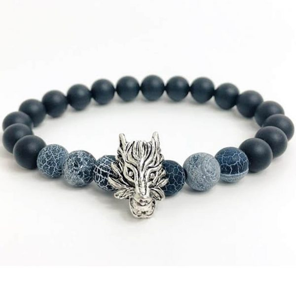 Silver Dragon Leadership Bracelet | Matte Black Agate & Frost Vein Beads