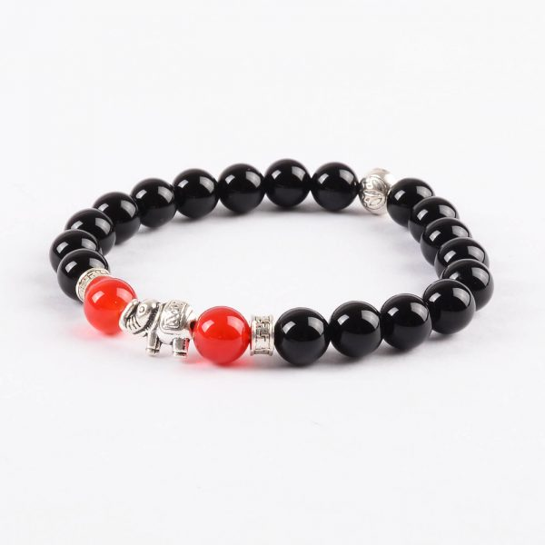 Silver Elephant Good Luck Bracelet | Red and Black Agate Stone Beads