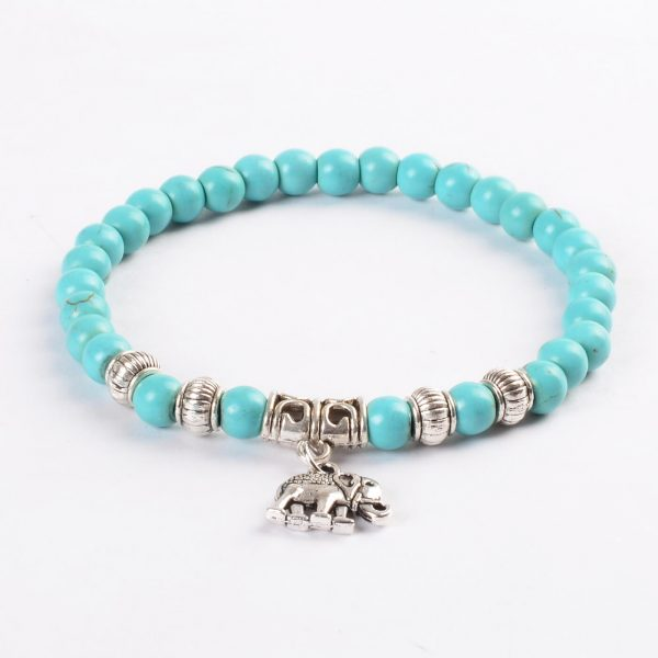 Silver Elephant Honesty & Protection Bracelet | Blue Turquoise Stone Beads