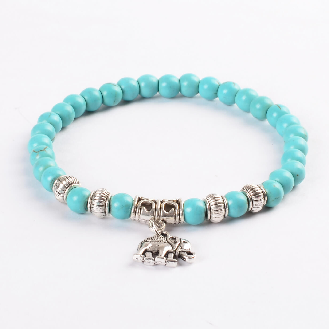 d59f03fa0 Silver Elephant Honesty & Protection Bracelet | Blue Turquoise Stone Beads