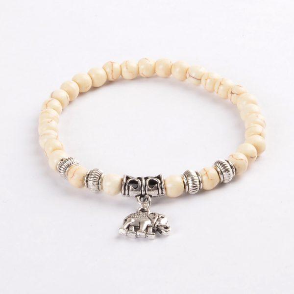 Silver Elephant Inner Peace & Strength Bracelet | White Turquoise Stones