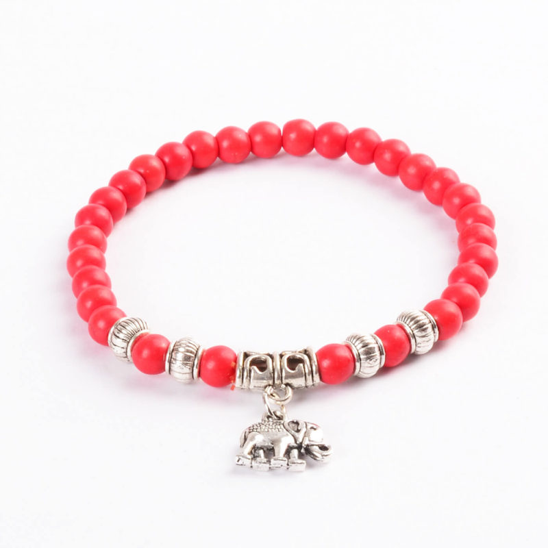 Silver Elephant Deep Passion & Courage Bracelet | Red Turquoise Stone Beads