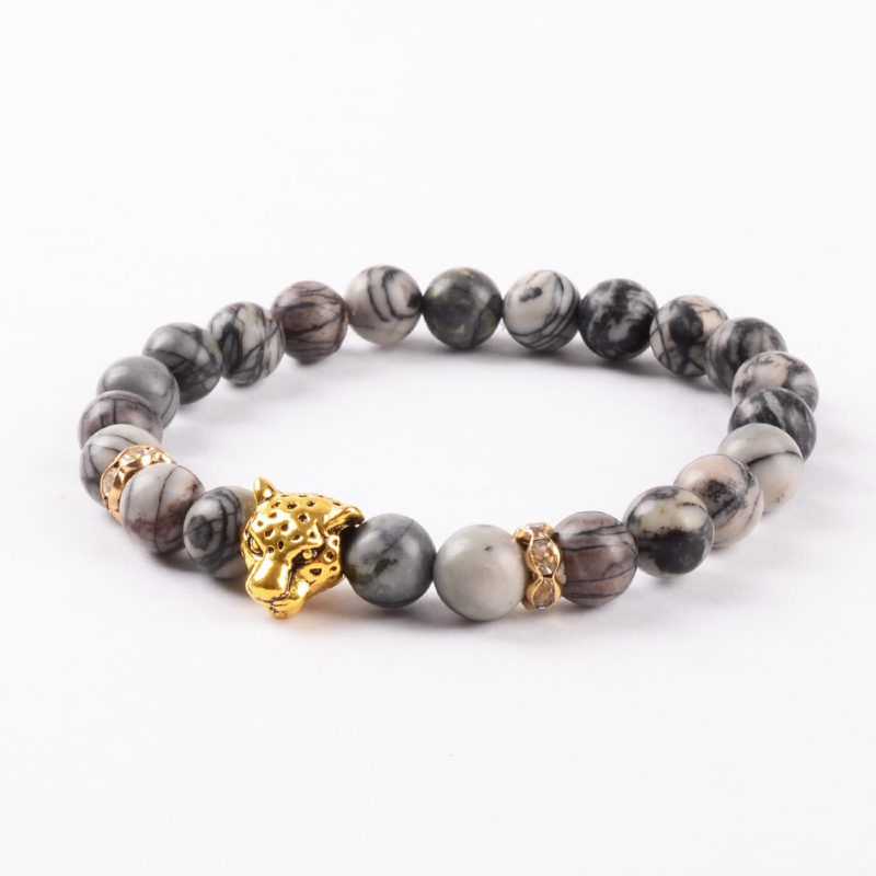 Golden Panther Wisdom & Protection Bracelet | Spider Web Jasper Stone Beads