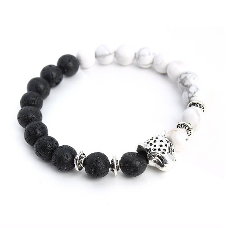 Silver Panther Peace & Calmness Bracelet | Howlite & Lava Stone Beads