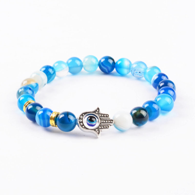 Hamsa Hand Positive Approach Bracelet   Blue Agate Stone Beads