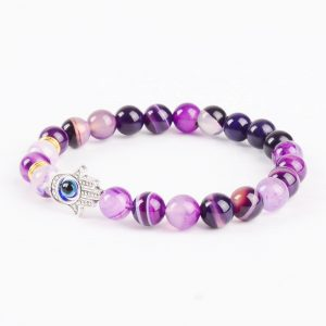 Hamsa Hand Inner Strength Bracelet | Purple Agate Stone Beads 2