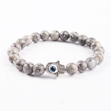 Hamsa Hand Friendship Bond Bracelet | Picassso Jasper Stone Beads