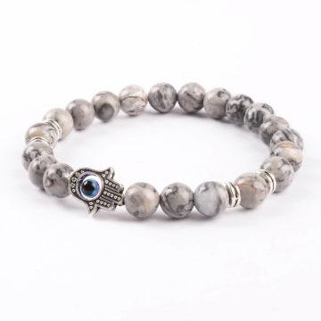 Hamsa Hand Friendship Bond Bracelet | Picassso Jasper Stone Beads 2