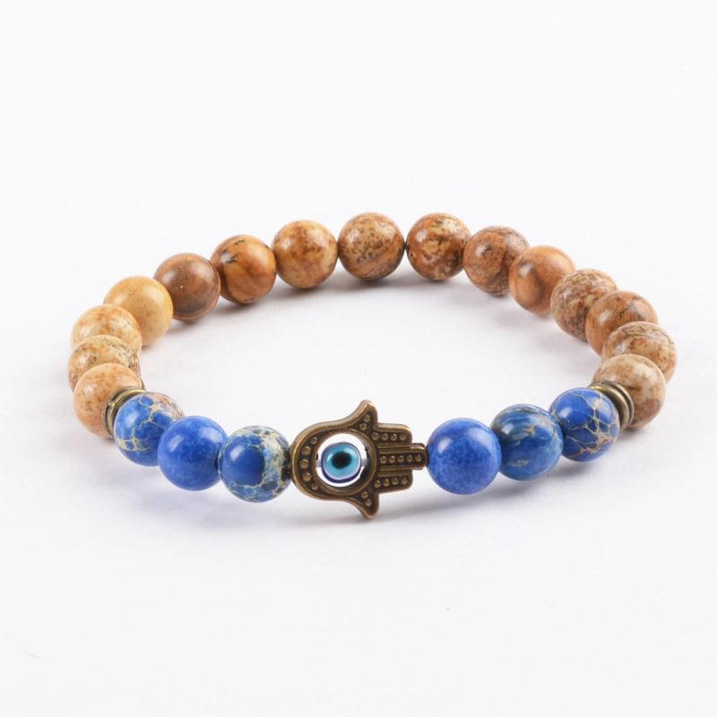 Hamsa Hand Healing & Stability Bracelet | Blue & Picture Jasper Stone Beads