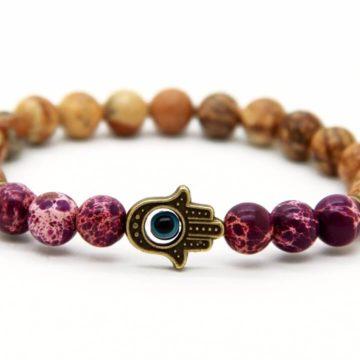Hamsa Hand Healing & Stability Bracelet | Purple & Picture Jasper Stone Beads