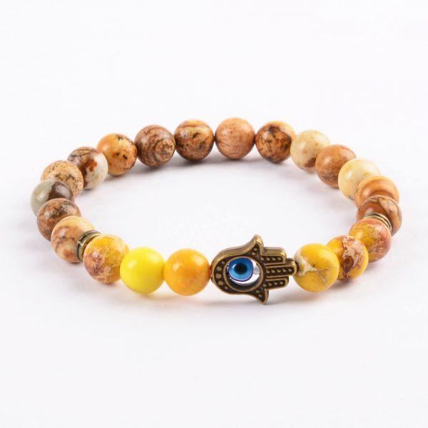 Hamsa Hand Healing & Stability Bracelet | Yellow & Picture Jasper Stone Beads