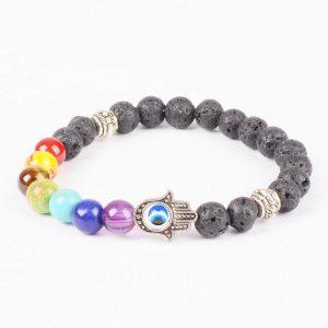 Hamsa Hand Life Balancing Strength Bracelet | Full Chakra & Lava Stones