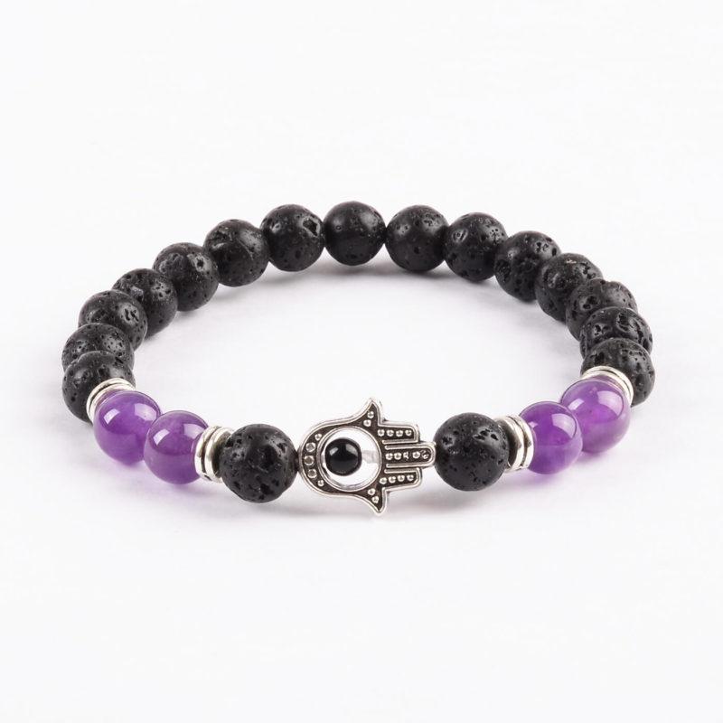 Hamsa Hand Strength & Peace Bracelet | Amethyst & Lava Stones Beads