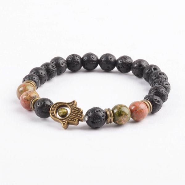 Hamsa Hand Calmness & Self Control Bracelet | Lava Unakite Stone Beads