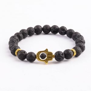 Golden Hamsa Hand Emotional Calmness Healing Bracelet | Black Lava Stones